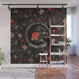 Enso Circle Bonsai Tree on Zen Symbol pattern on black Wall Mural