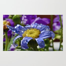 Macro shot summer flower with dew Rug