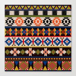 Colourful tribal Aztec patterns Canvas Print