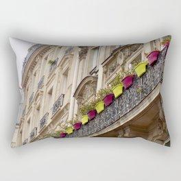 Paris side street downtown flower pots Rectangular Pillow