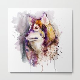 Watercolor Wolf Portrait Metal Print