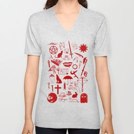 Buffy Symbology, Red Unisex V-Neck
