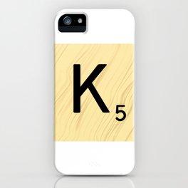Scrabble K Decor, Scrabble Art, Large Scrabble Tile Initials iPhone Case