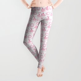 Pink Cupcakes and Donuts - White Leggings