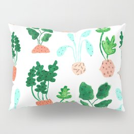 Painted Postmodern Potted Plants in White Pillow Sham