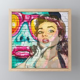 Retro Pinup Girl & Colorful Graffiti Wall Framed Mini Art Print