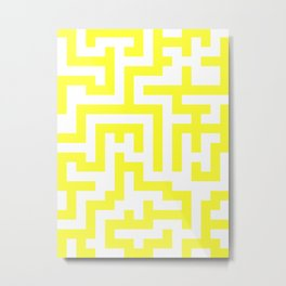 White and Electric Yellow Labyrinth Metal Print