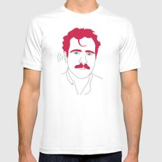Blue-tooth pink mustache guy MEDIUM White Mens Fitted Tee