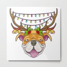 Cute Christmas Tree Lights Pitbull Metal Print