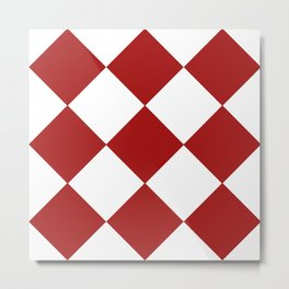 Red and White Argyle Metal Print