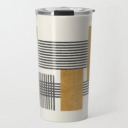 Stripes and Square Composition - Abstract Travel Mug