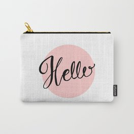 Hello - Pink Hand Lettering Carry-All Pouch