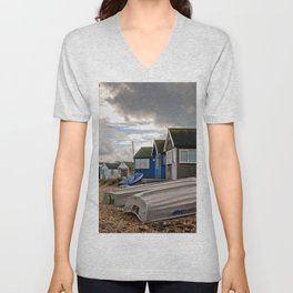 Beach Huts at Hengistbury Head Dorset England Unisex V-Neck