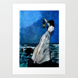 She lived almost alone in a sea of storms. Art Print