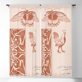 Butterfly rooster and leaf ornament (1901) by Julie de Graag (1877-1924) Blackout Curtain