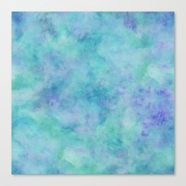 Teal and Blue Tropical Marble Watercolor Texture Canvas Print