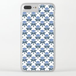 Ajrak Woodblock Floral Print in Blue Clear iPhone Case