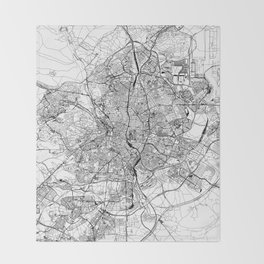 Madrid White Map Throw Blanket