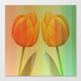Head-to-Head, mixed media art with elegant Tulips Canvas Print