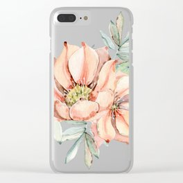 Coral Desert Roses Clear iPhone Case