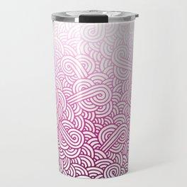 Gradient pink and white swirls doodles Travel Mug