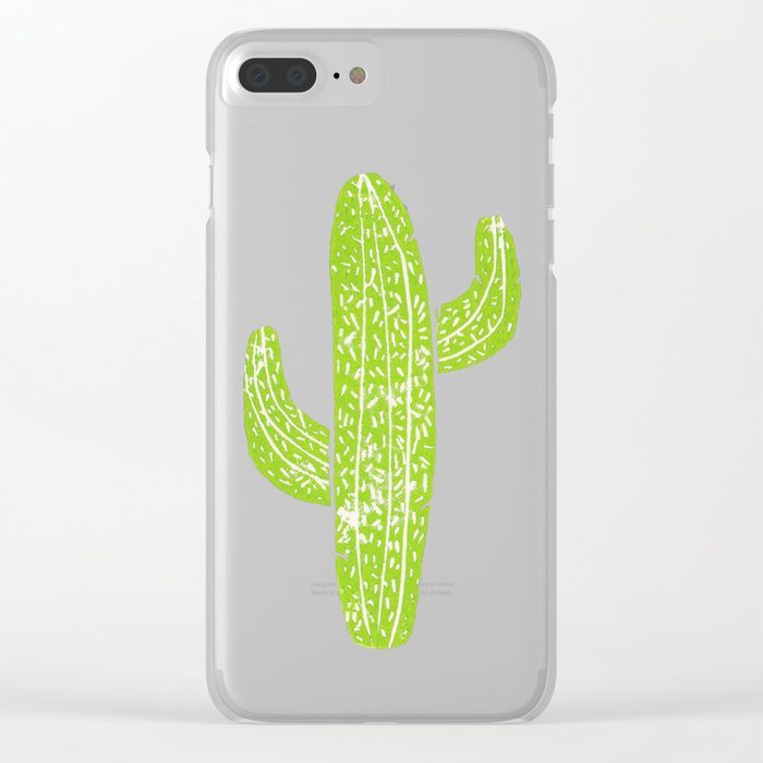 Linocut Cacti Minty Pinky Clear iPhone Case