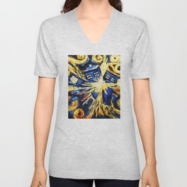 Tardis By Van Gogh - Doctor Who Unisex V-Neck