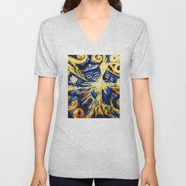 Tardis By Van Gogh - Doctor Who Unisex V-Neck