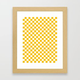 White and Amber Orange Checkerboard Framed Art Print