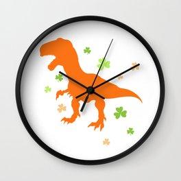 Lucky Orange Dinosaur St Patrick's Day Clover Cute Design Wall Clock
