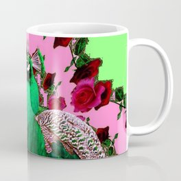STATELY GREEN PEACOCK PINK-RED ROSES ABSTRACT Coffee Mug