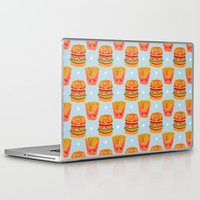 french fries Laptop & iPad Skins featuring Hamburger and French Fries Pattern by haidishabrina