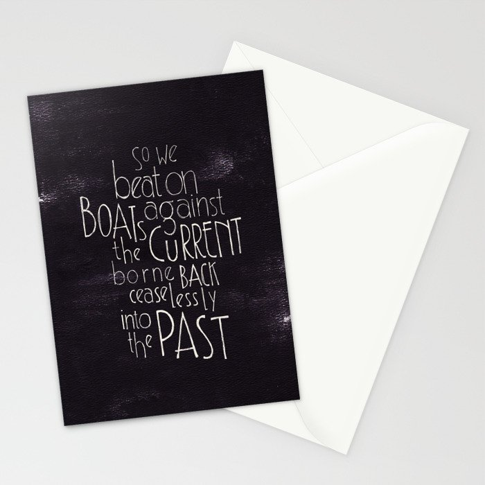 "The Great Gatsby quote ""So we beat on"" Stationery Cards"