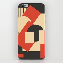 Geometrical abstract art deco mash-up scarlet beige iPhone Skin