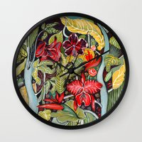 paradise Wall Clocks featuring Paradise  by Felicia Cirstea