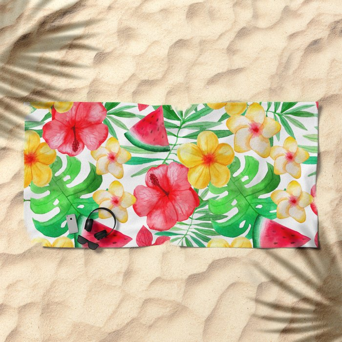 happy summer life aloha flowers and melon pattern beach towel by