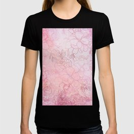 Vintage style pink gradient watercolor rose gold floral T-shirt