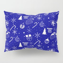 New Year Christmas winter holidays pattern with gifts, candys, christmas tree and toys, santa hat, s Pillow Sham