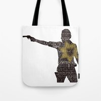 rick grimes Tote Bags featuring Rick Grimes with Quotes by rlc82