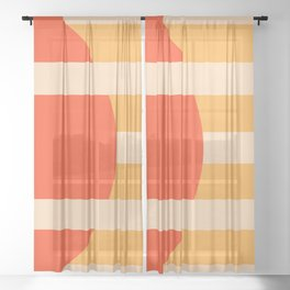 GEOMETRY ORANGE I Sheer Curtain
