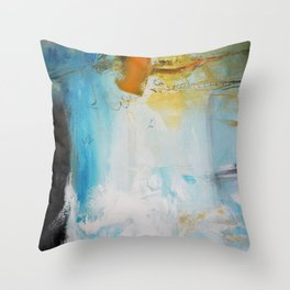 Blue Abstract painting Print  Throw Pillow