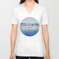 indigo V-neck T-shirts featuring Indigo Waves by Leah Flores