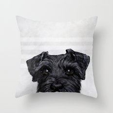 Black Schnauzer original painting print Throw Pillow