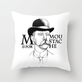 M is for Moustache, MUST STACHE Throw Pillow