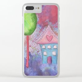 Whimsical House Watercolour Clear iPhone Case