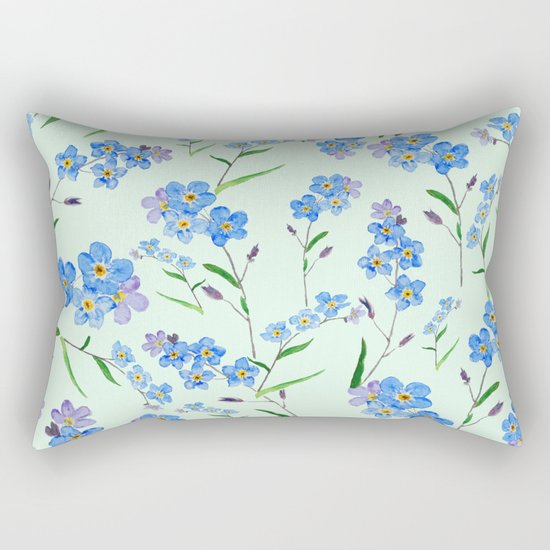forget me not in green background Rectangular Pillow