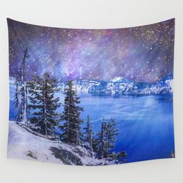 Night Sky Blue Lake Wall Tapestry