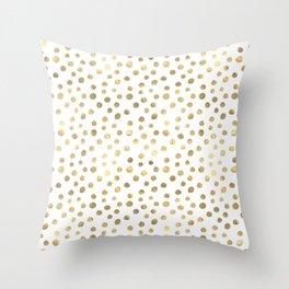 White & Golden Dots Throw Pillow