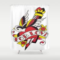 tatoo Shower Curtains featuring Tatoo ART 5  by The Greedy Fox