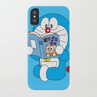 doraemon iPhone & iPod Cases featuring Doraemon Reading Comic Book by Timeless-Id
